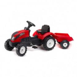 FALK Tracteur a pédales rouge Garden Master + Remorque