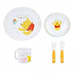 BADABULLE Coffret Repas Winnie : Assiette,Bol,Tasse,Couverts