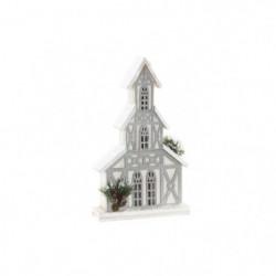Maison de Noël LED en bois - 24 x 8 x 41 cm - Blanc