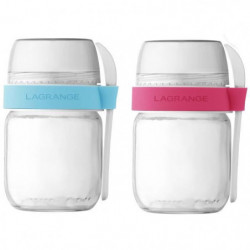 LAGRANGE Lot de 2 pots compartimentés 440403 - Transparent e