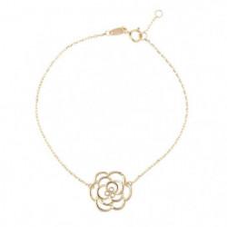 Gourmette Fleur Or Jaune 375/1000