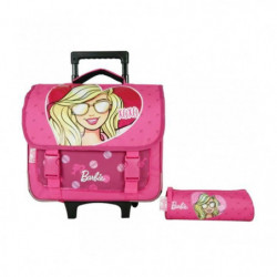 BARBIE Cartable a Roulettes 38 cm + Trousses