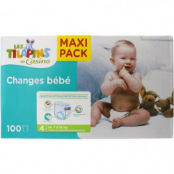 LES TILAPINS Couches Maxi Taille 4 - 7 a 18kg - 100 couches