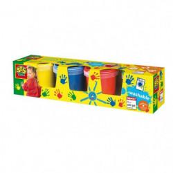 SES CREATIVE Lot de 4 pots de peinture a doigts - 4 couleurs