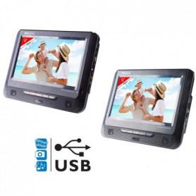 """TAKARA VRT179 Lecteur DVD portable 2 écrans 9"""" USB"""