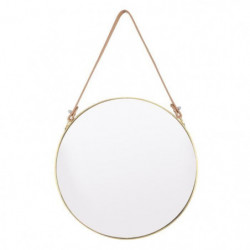 INNOVA Miroir en laiton avec laniere - Ø 30 cm - Doré