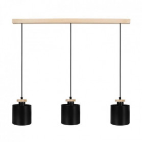 UZIBUZE Lustre 3 tetes en bois et acier - L70 x Ø1