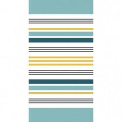 TODAY Drap de Plage 100% Coton 90x170 cm - Blanc et bleu