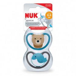 NUK 2 Sucettes SPACE 0-6m Baleine/Ours