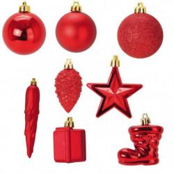 Lot de 20 boules de Noël + 20 suspensions de Noël - Ø 6 cm