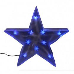 Etoile de Noël 10 LEDs avec fil transparent - PVC - 35 cm