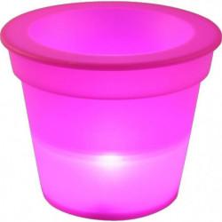 HOMEA Pot Lumineux En Plastique A Piles + 1Led O16*H13Cm