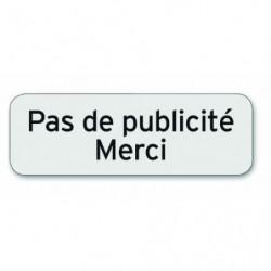 Plaque indicatrice Pas de publicité - Merci - Polycarbonate