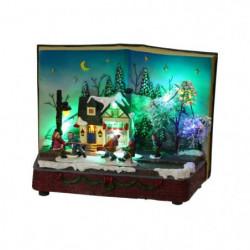Maison livre animée et musicale de Noël - 11 LED multicolore