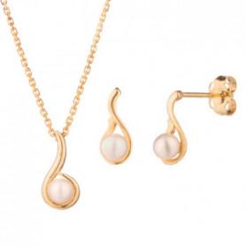 OR ECLAT Parure Perle d'Eau Douce Or Jaune 375/1000