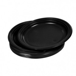 Lot de 20 assiettes plates jetables diametre 22 cm noir