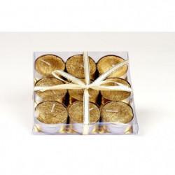Set de 9 bougies de Noël T-Light pailletées en cire - Ø 3.8 cm