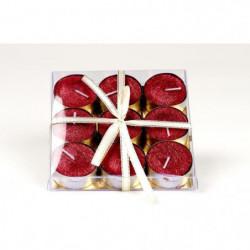 Set de 9 bougies de Noël T-Light pailletées en cire - Rouge