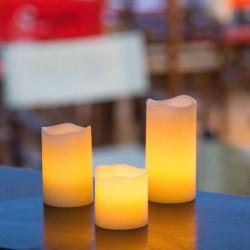 Set de 3 Bougies cire Ivoire - LED effet flamme - H 5, 7,5 et 10 cm
