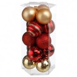 Lot de 15 boules de Noël - ø 50 mm - Blanc et argenté