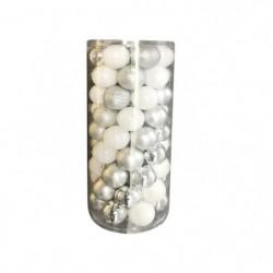 AUTOUR DE MINUIT Kit 63 boules de noël -Ø6cm - Blanc et argent