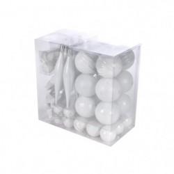 AUTOUR DE MINUIT Kit de 60 boules décos de noël - Blanc