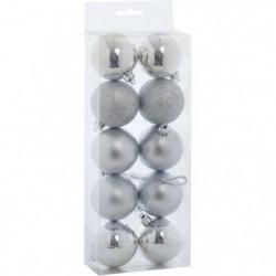 Set de 10 Boules de Noël - 5 cm - Argent
