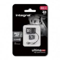 Integral UltimaPro Carte Mémoire Micro SDHC 64 Go + Lecteur