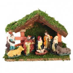 Creche de Noël avec 9 santons en porcelaine non collés - 23x16cm