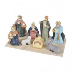 AUTOUR DE MINUIT Scene nativité 8 santons porcelaine - H 8,5cm