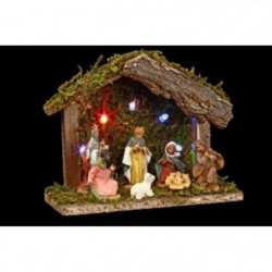 Creche de Noël lumineuse - 5 LED - 7 santons