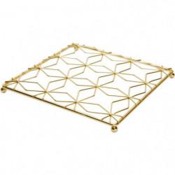 COSY&TRENDY 2637367 Dessous de plat carré métal doré 20X20X1,5cm