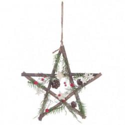 Suspension Étoile de Noël - Avec branches vertes et baies