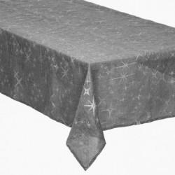 Nappe grise a motif étoile argenté - 140 x 360 cm