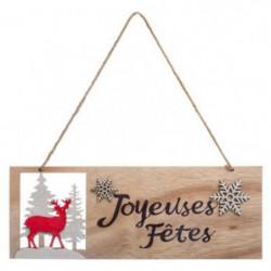 Décoration a suspendre - Pancarte en Bois Joyeuses fetes