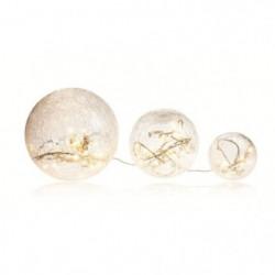BLACHERE 3 boules verre Blanc LED - Ø Boules - 20/15/10 cm