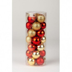 Kit déco de 28 boules de Noël en PVC - 3 cm - Rouge et or