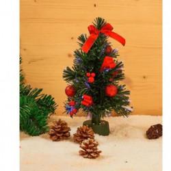 Sapin décoré en PVC - H 30 cm - Fibre optique - Vert et rouge