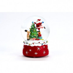 Boule a neige musicale Pere Noël avec sapin - Polyrésine et verre