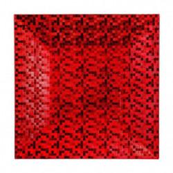 Assiette de présentation carrée pixelisée - Rouge