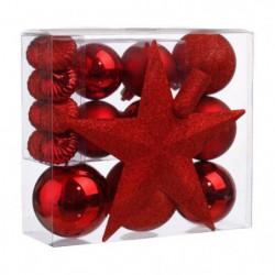 Kit de 18 pieces de Décoration de Noël - Rouge