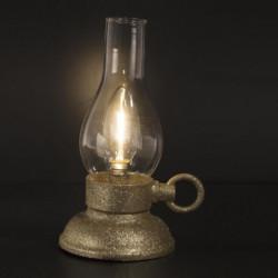 Lanterne a LED ancienne - Petit modele - Or paillette