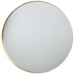 Miroir rond en aluminium - 70 x 3,5 cm - Jaune doré