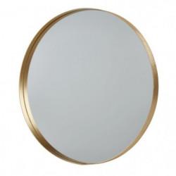 Miroir rond en aluminium - 50 x 3,5 cm - Jaune doré