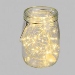 Pot en verre Ø15,5 cm avec guirlande de 40 MicroLED lumiere