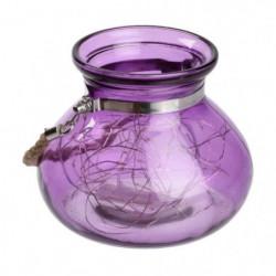 Vase en verre Violet - 40 MicroLED lumiere fixe