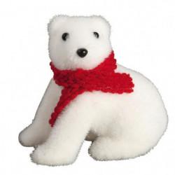 Animaux de Noël : Ours assis avec écharpe - H 11 x 11 cm