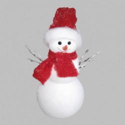Personnage de Noël Bonhomme de neige blanc en polyform H25 cm