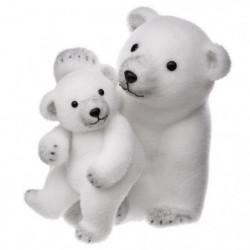 Décoration a poser - Maman et Bébé Ours Blanc - 28 cm