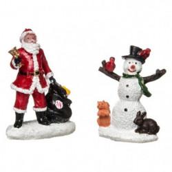 Figurines de Noël Pere Noël et Bonhomme de Neige